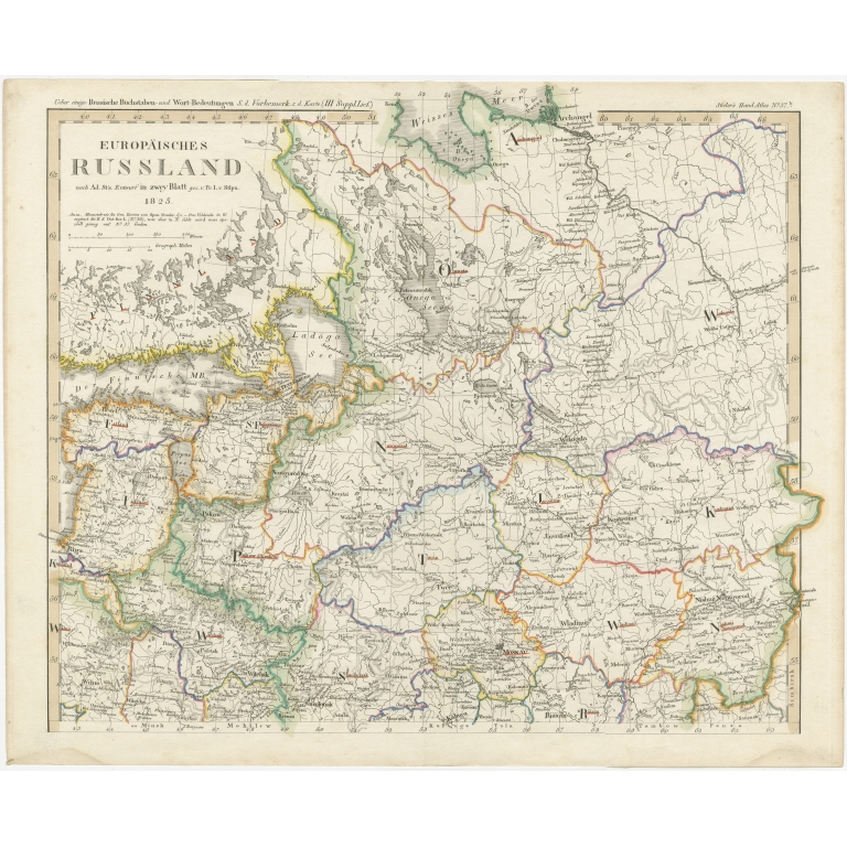 Antique Map of Russia in Europe by Stieler (c.1825)
