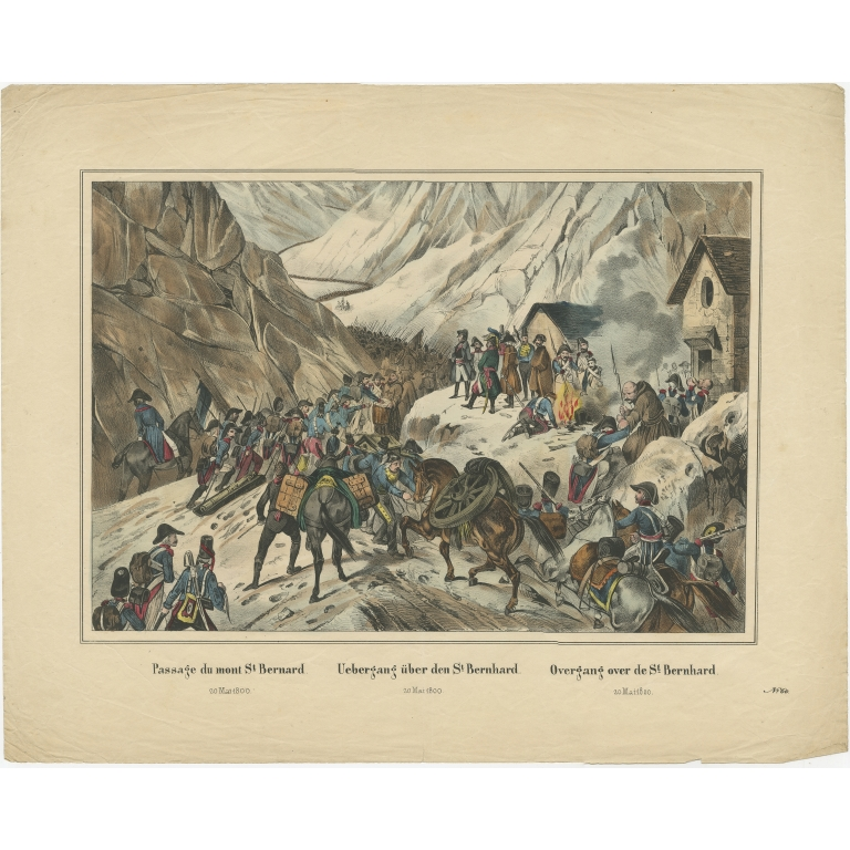 Antique Print of Napoleon's Army Crossing the St. Bernard Pass (c.1860)