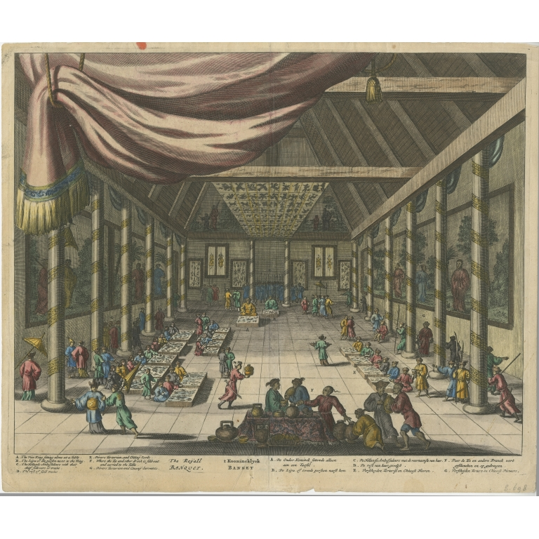 Antique Print of a Feast for the Dutch Embassy in the Palace by Dapper (1670)