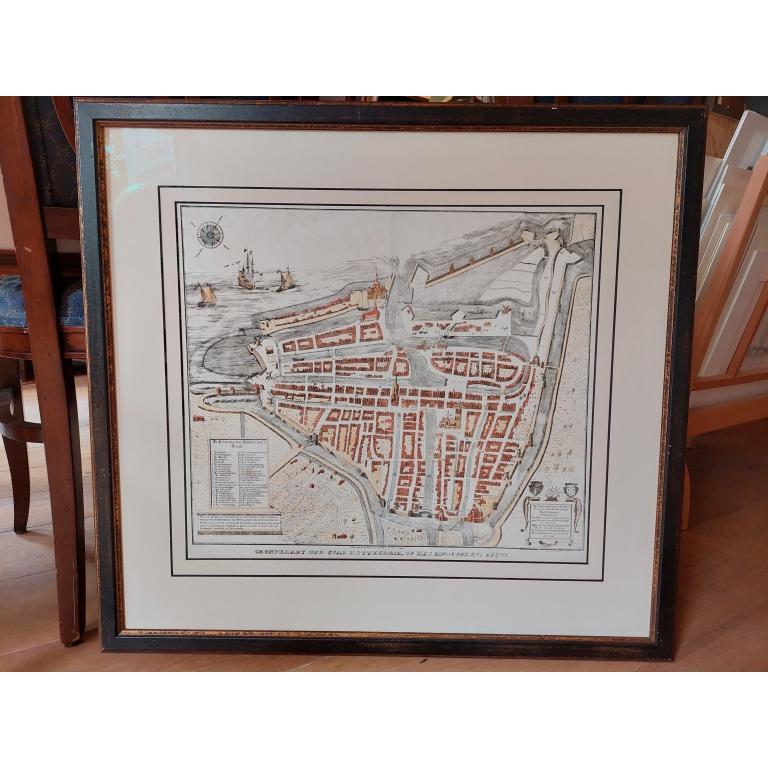 Antique City Plan of Rotterdam by Van der Meer (c.1850)
