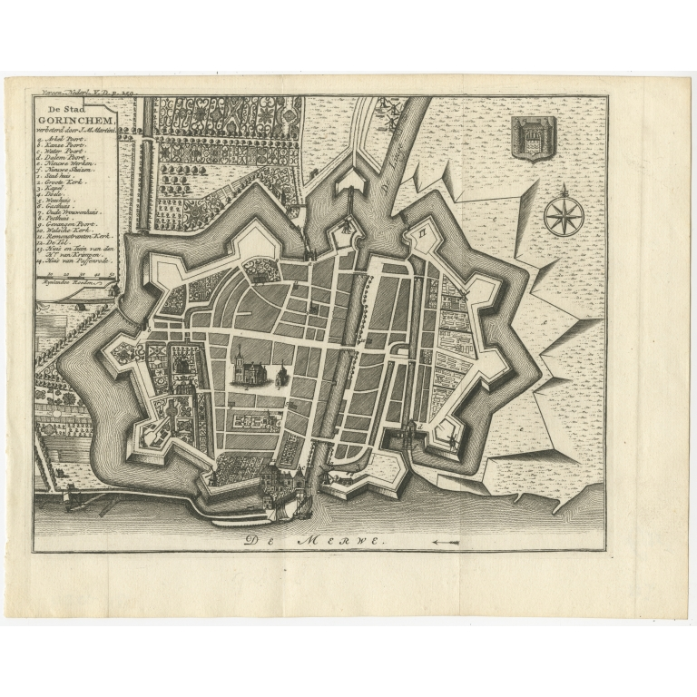 Antique Map of the City of Gorinchem by Tirion (1744)