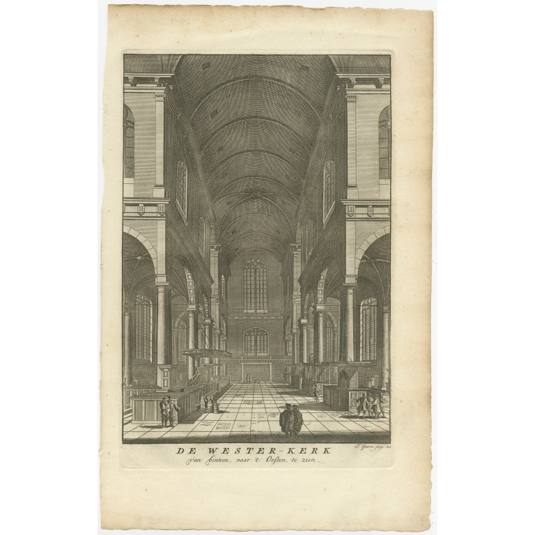 Antique Print of the Interior of the 'Westerkerk' by Goeree (1765)