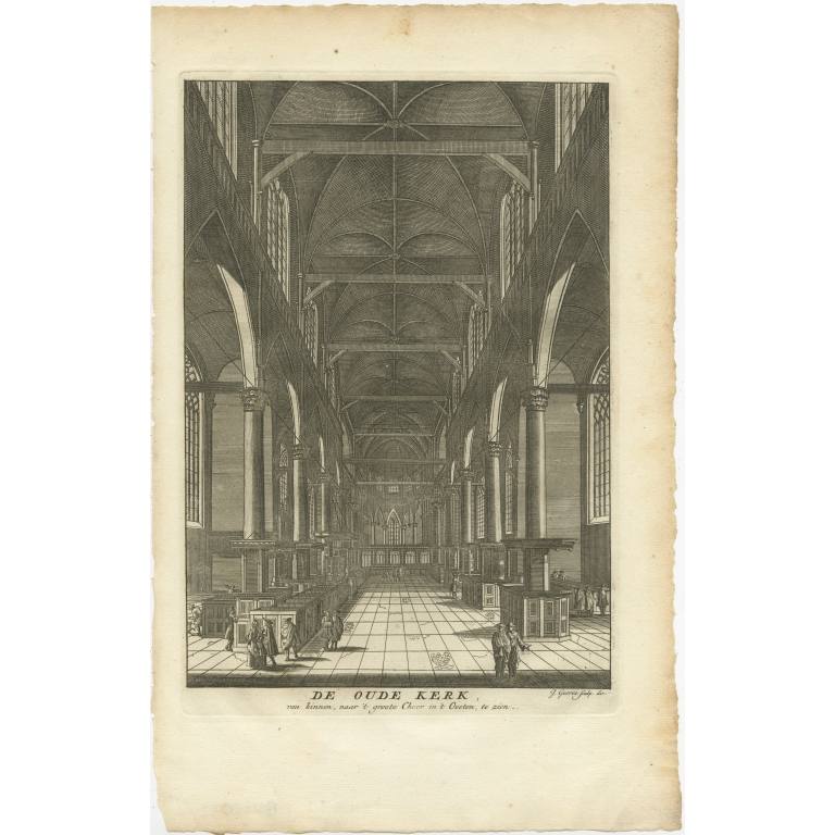 Antique Print of the 'Oude Kerk' in Amsterdam by Goeree (1765)