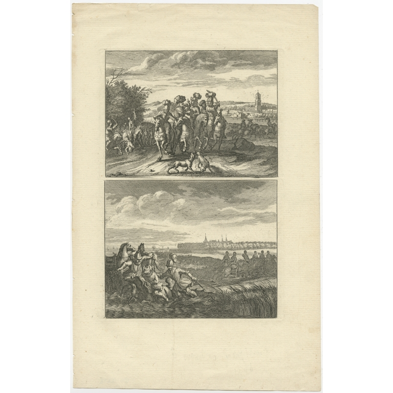 Antique Print of a Hunting Scene and the Murder of Count Floris V (c.1690)
