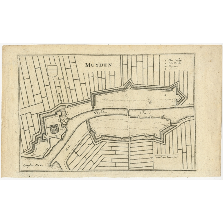 Antique Map of the city of Muiden by Merian (1659)