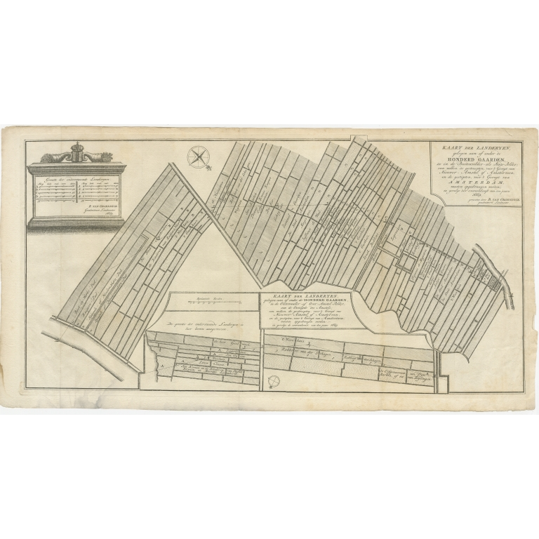 Antique Map of Estates in Amsterdam (c.1767)
