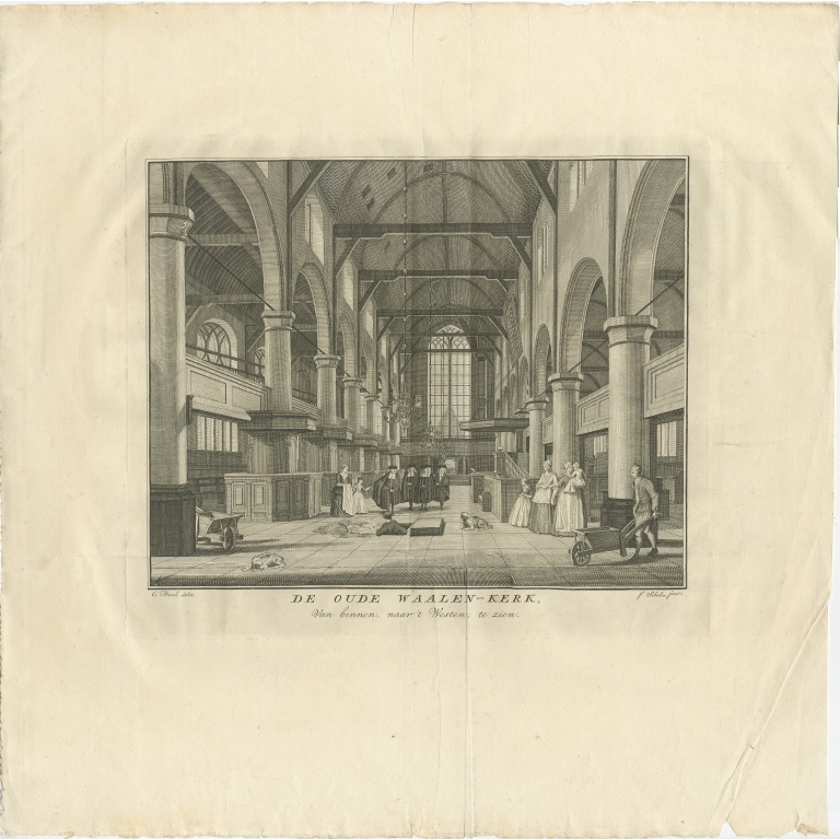 Antique Print of the old Walloon Church in Amsterdam by Wagenaar (c.1760)