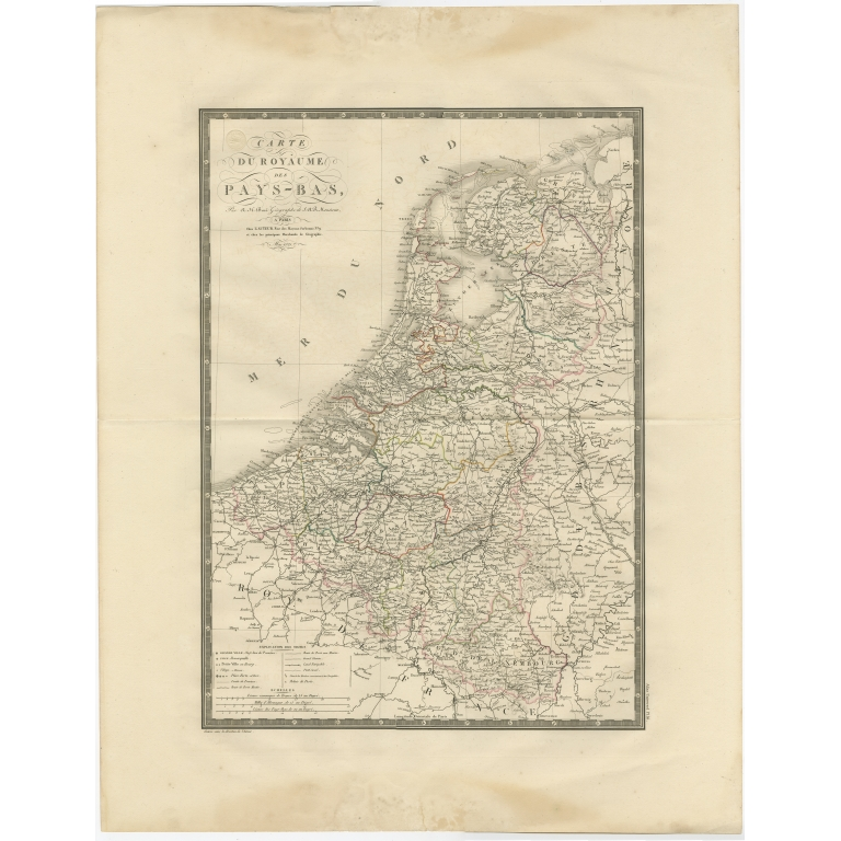 Antique Map of the Low Countries by Brué (1822)