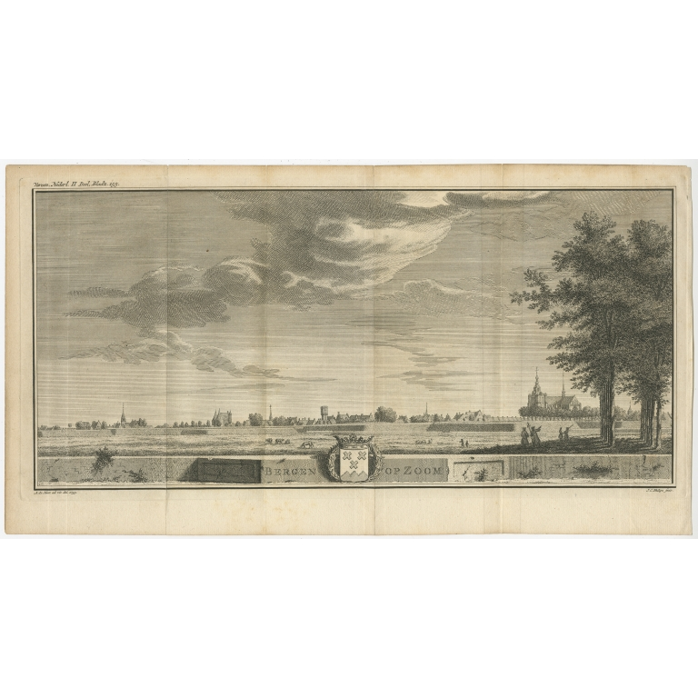 Antique Print of the City of Bergen op Zoom by Philips (c.1745)