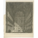 Antique Print of the Central Hall of the Royal Palace of Amsterdam by Van Liender (c.1765)