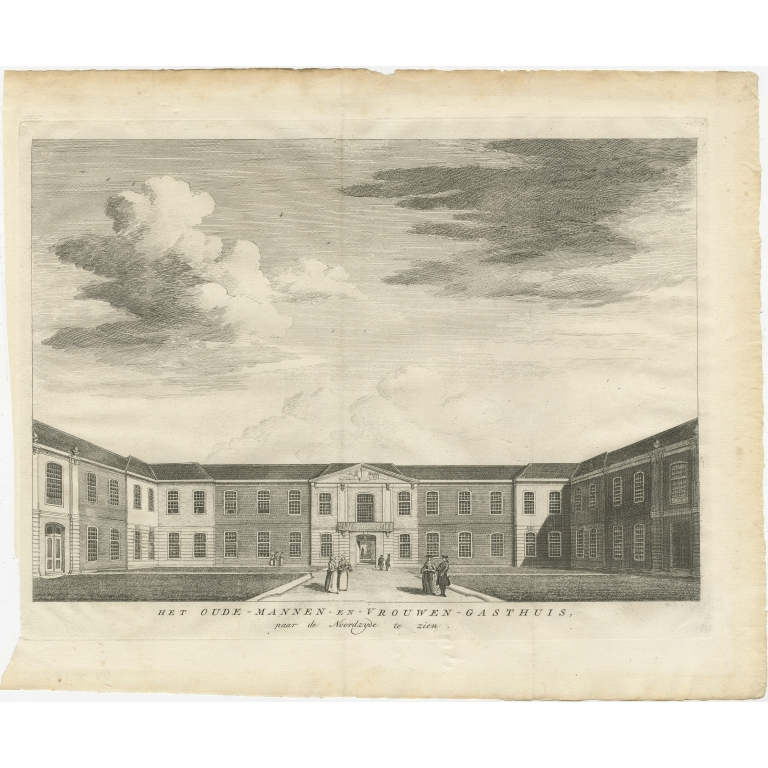 Antique Print of the former Retirement Home in Amsterdam by Wagenaar (c.1760)