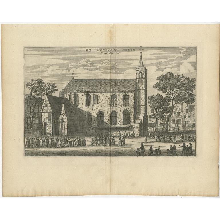 Antique Print of the 'Engelse Kerk' by Dapper (c.1663)