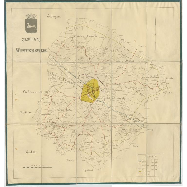 Antique Folding Map of the Township of Winterswijk (c.1920)