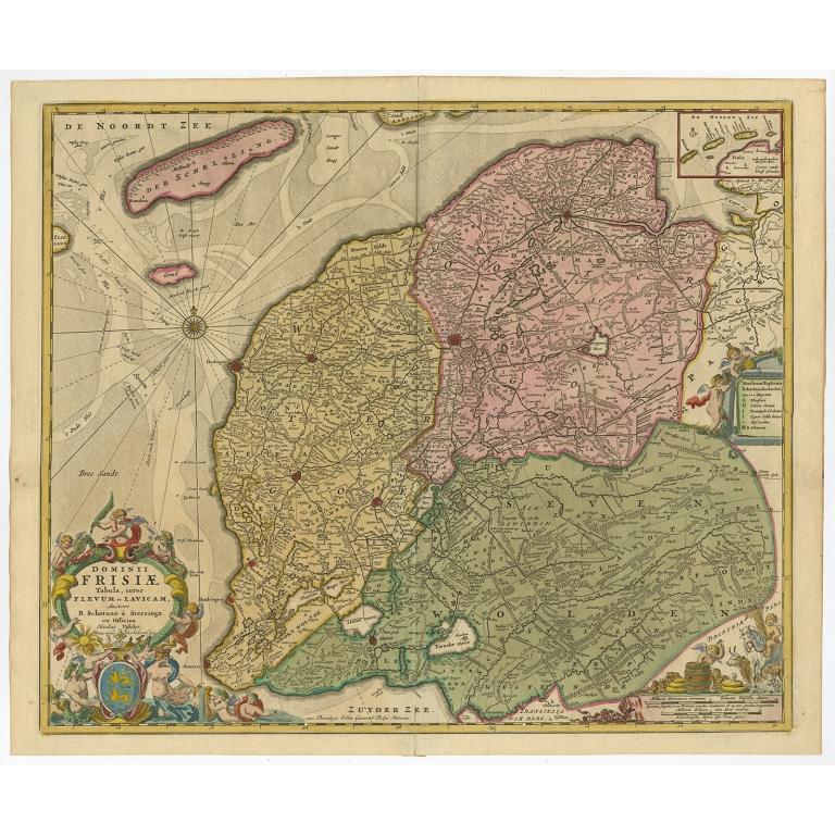Antique Map of Friesland by Schenk (c.1780)