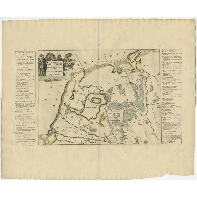 Antique Map of the old lands of Friesland by Halma (1718)