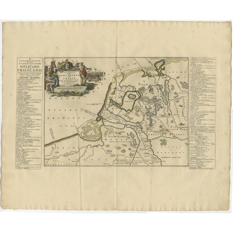 Antique Map of the old land of Batavia and Friesland by Halma (1718)
