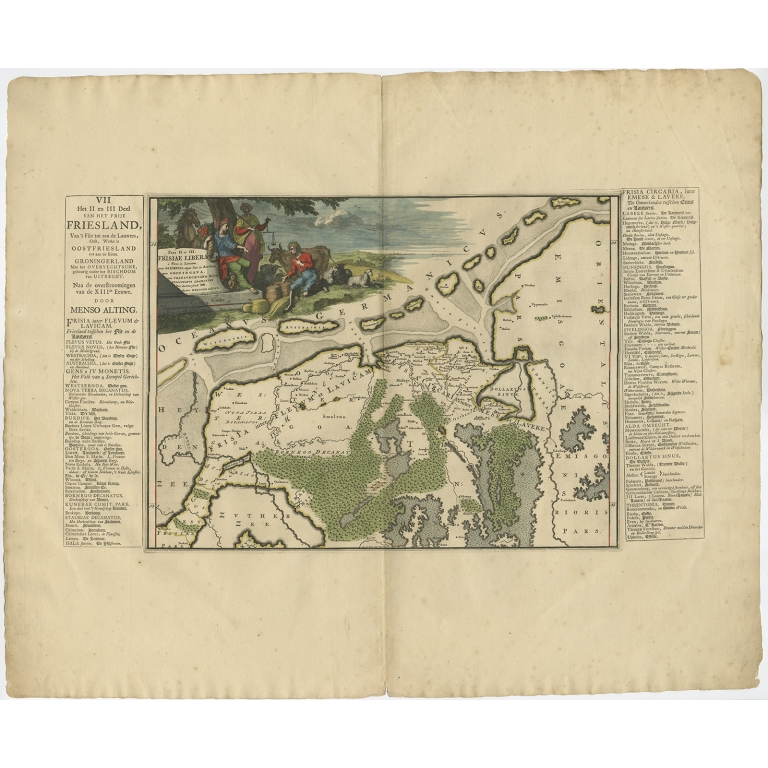 Antique Map of Friesland after the floods of the 13th century by Halma (1718)