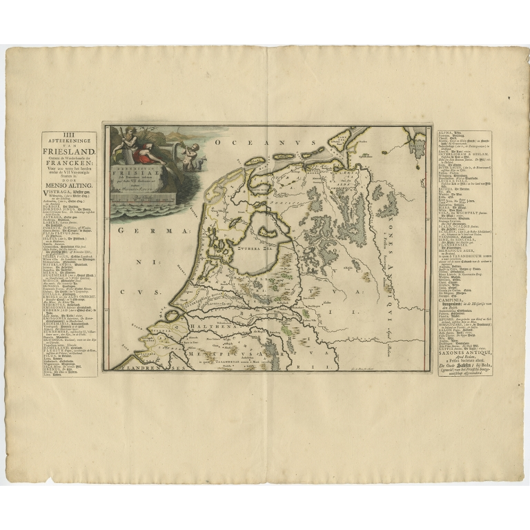 Antique Map of Friesland in the time of the Franks by Halma (1718)