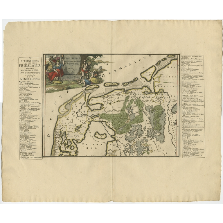 Antique Map of the Region of Kennemerland and Eems by Halma (1718)