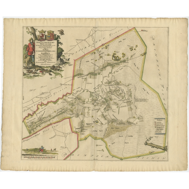 Antique Map of the Ooststellingwerf township (Friesland) by Halma (1718)