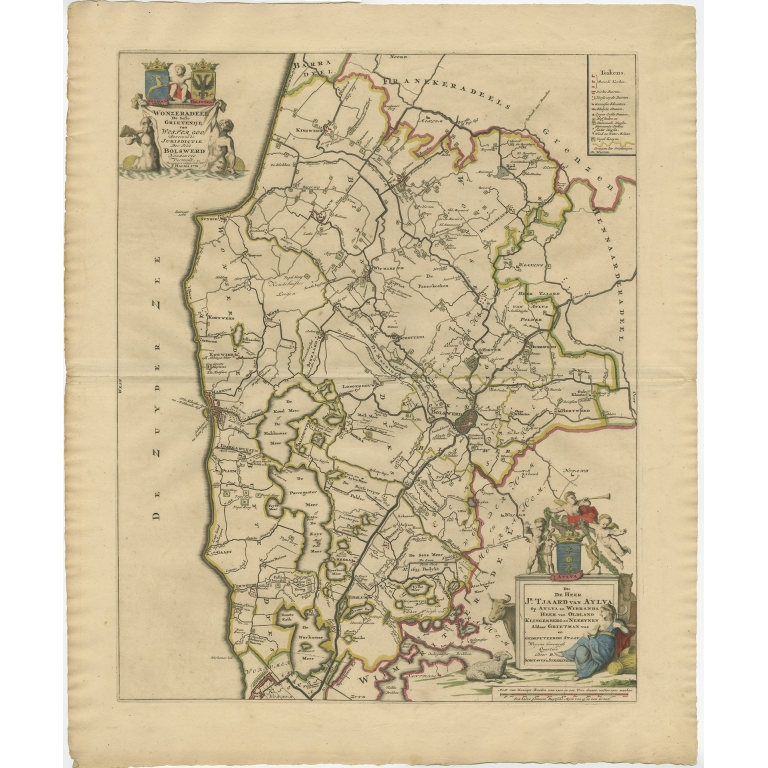 Antique Map of the Wonseradeel township (Friesland) by Halma (1718)
