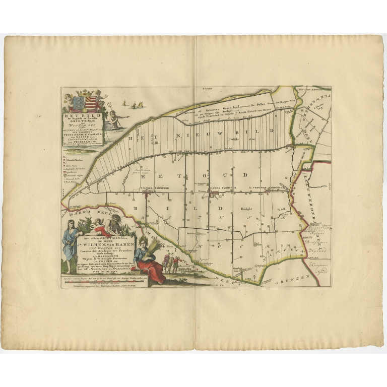 Antique Map of the Bild township (Friesland) by Halma (1718)