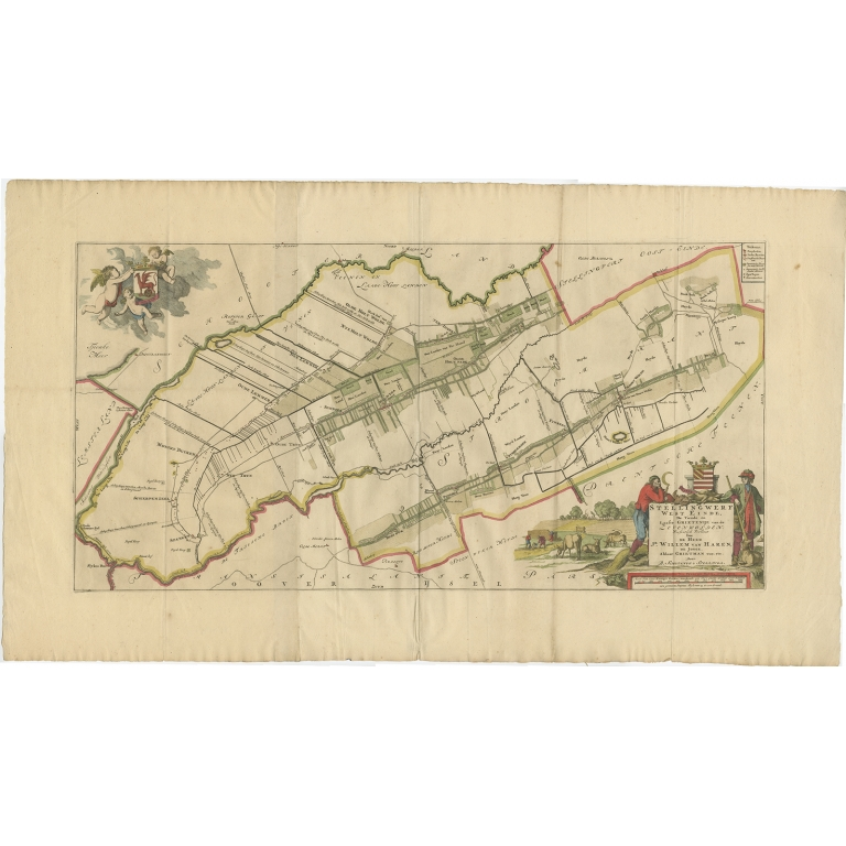 Antique Map of the Weststellingwerf township (Friesland) by Halma (1718)