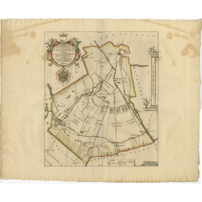 Antique Map of the Haskerland township (Friesland) by Halma (1718)