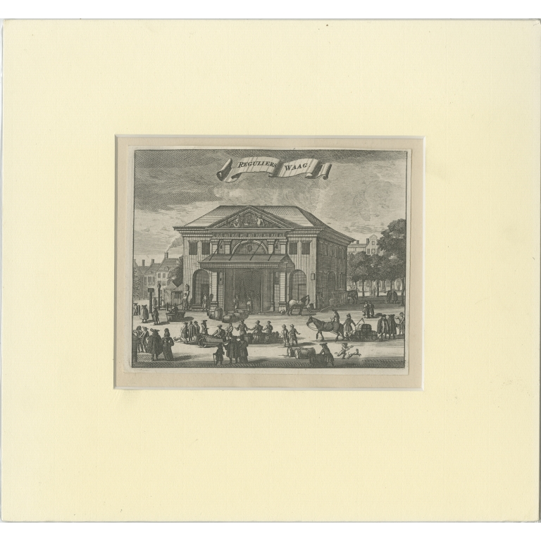 Antique Print of the Weigh-House in Amsterdam by Commelin (1693)