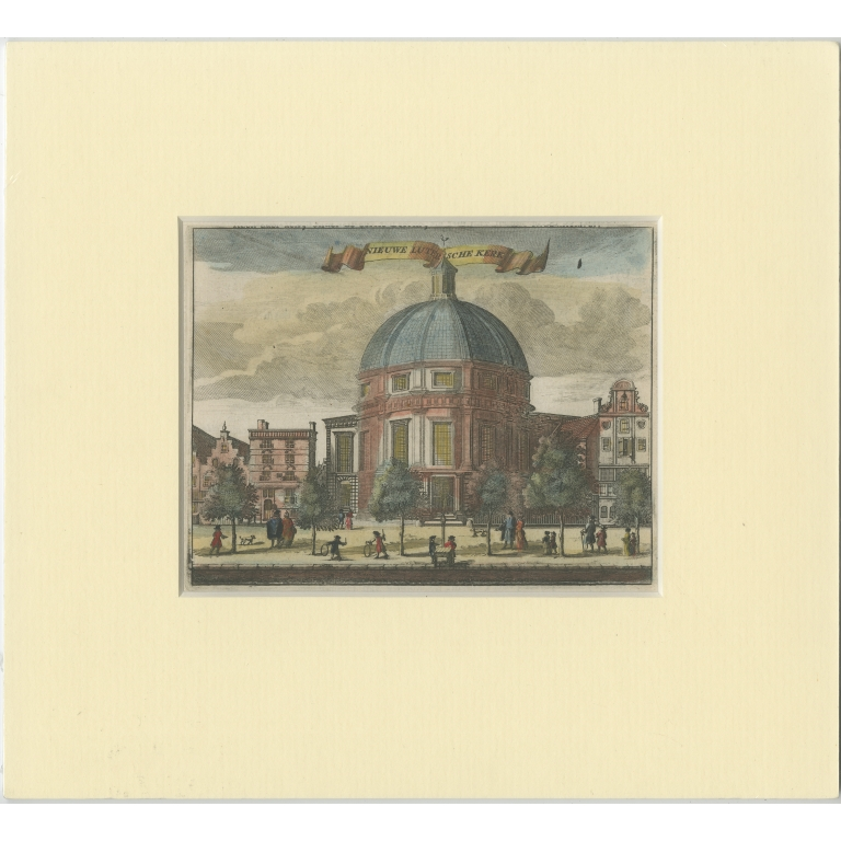 Antique Print of the 'Ronde Lutherse Kerk' in Amsterdam (c.1760)