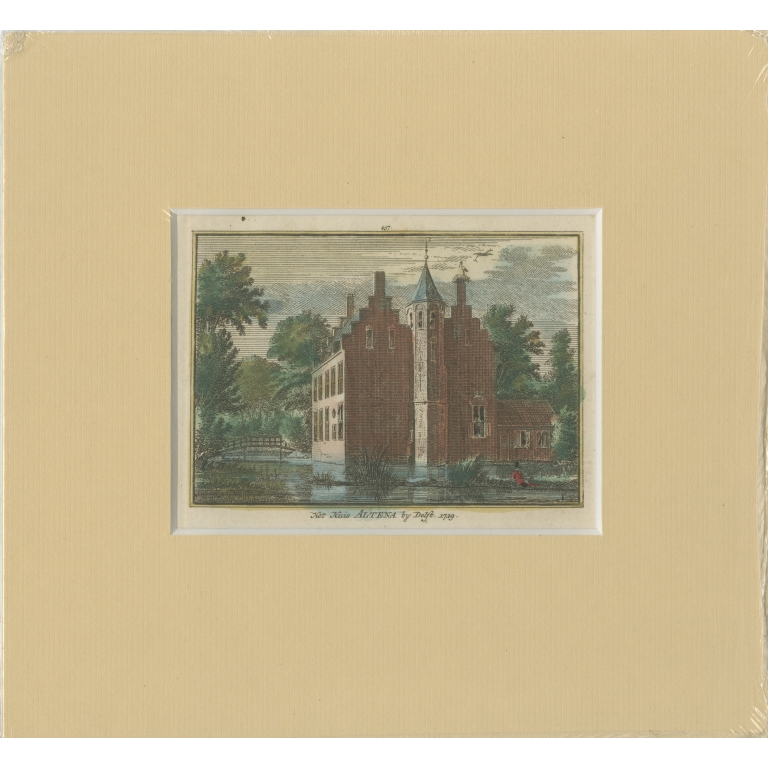 Antique Print of the former Altena Castle by Spilman (c.1750)