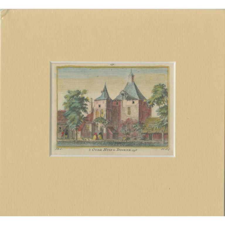 Antique Print of the Castle of Deurne by Spilman (c.1750)