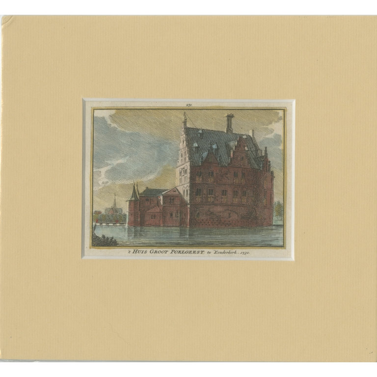 Antique Print of Groot Poelgeest Castle (front) by Spilman (c.1750)