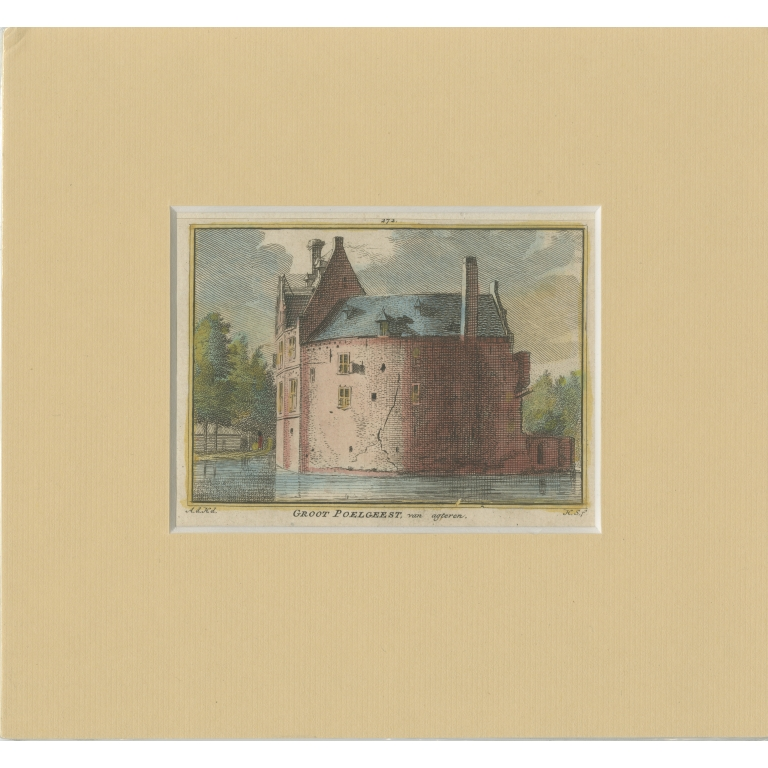 Antique Print of Groot Poelgeest Castle by Spilman (c.1750)
