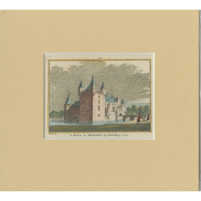 Antique Print of Hernen Castle by Spilman (c.1750)