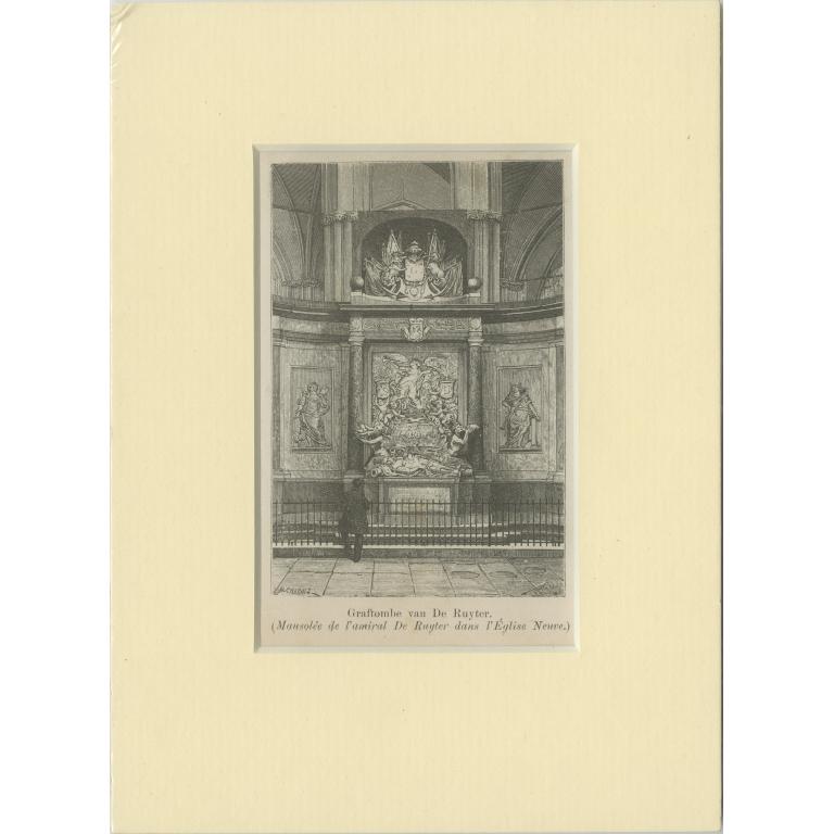 Antique Print of the Tomb of Michiel de Ruyter (c.1900)
