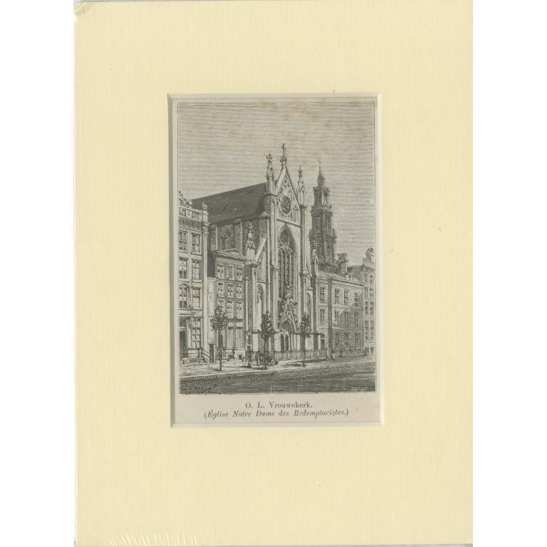 Antique Print of the 'Onze-Lieve-Vrouwekerk' in Amsterdam (c.1900)