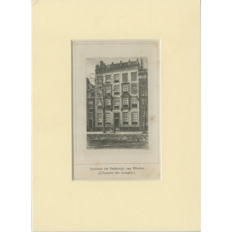 Antique Print of the Institute for the Blind in Amsterdam (c.1900)