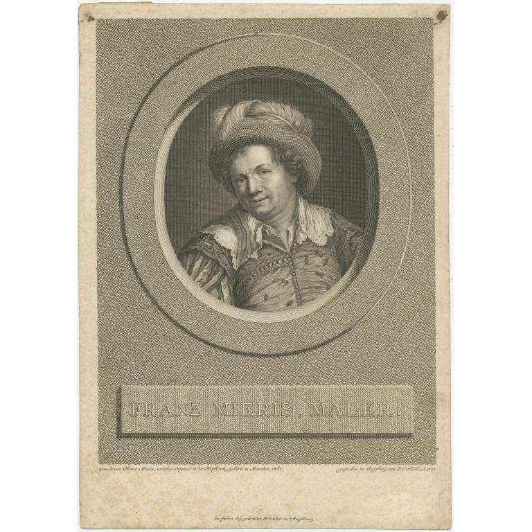Antique Portrait of Frans van Mieris I by Klauber (c.1785)