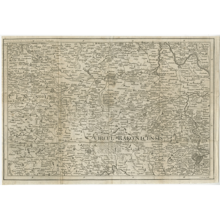 Antique Map of the region of Prague by Gibson (c.1760)
