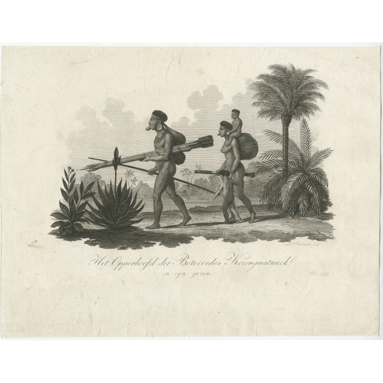 Antique Print of a Botocudo Chief and his Family (c.1820)