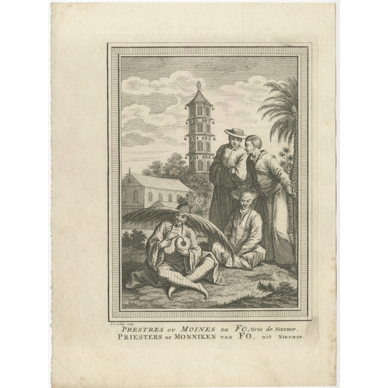 Antique Print of Monks of Fo by Van Schley (1749)
