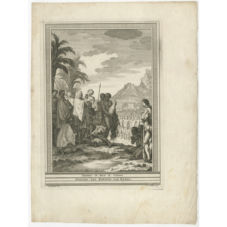 Antique Print of the Baptism of the King of Congo by Van Schley (1747)