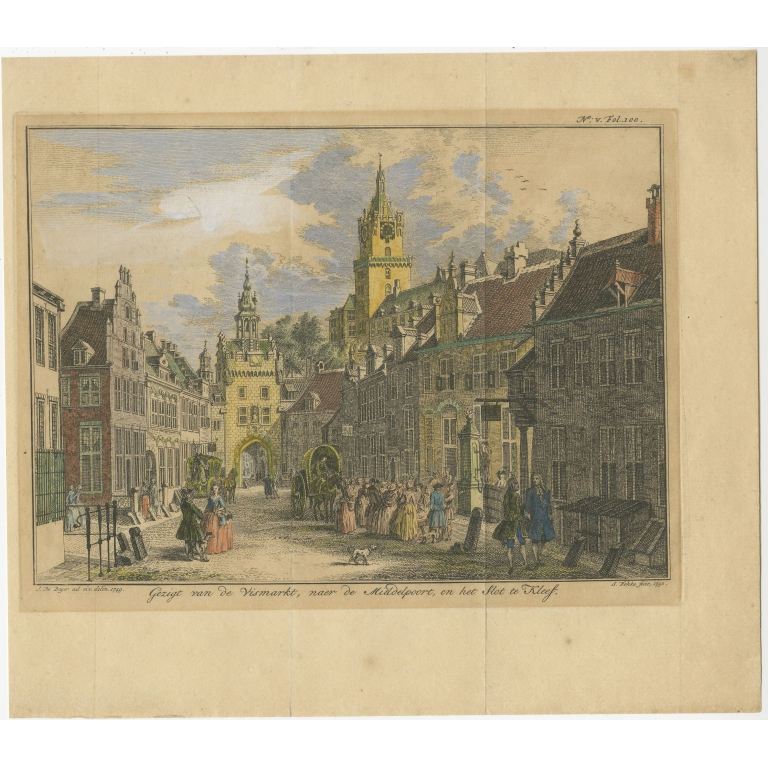 Antique Print of the City of Kleve by Fokke (1752)