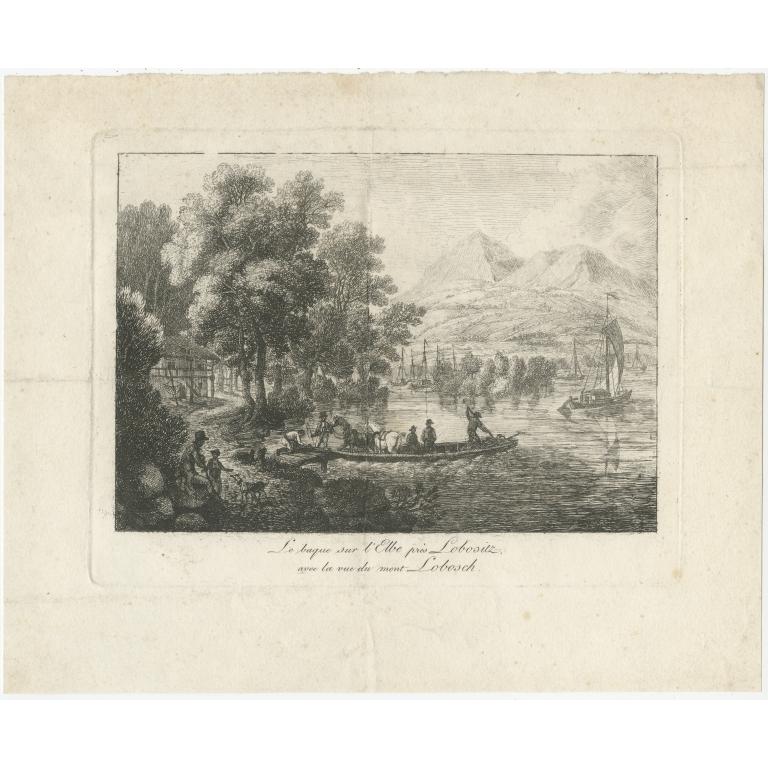 Antique Print of the Elbe river near Lovosice (c.1840)