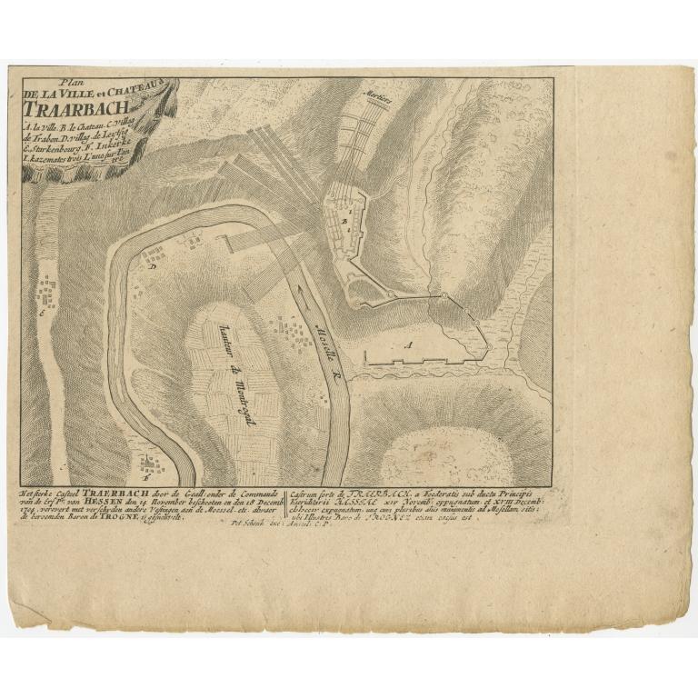 Antique Battle Plan of Trarbach by Schenk (c.1710)