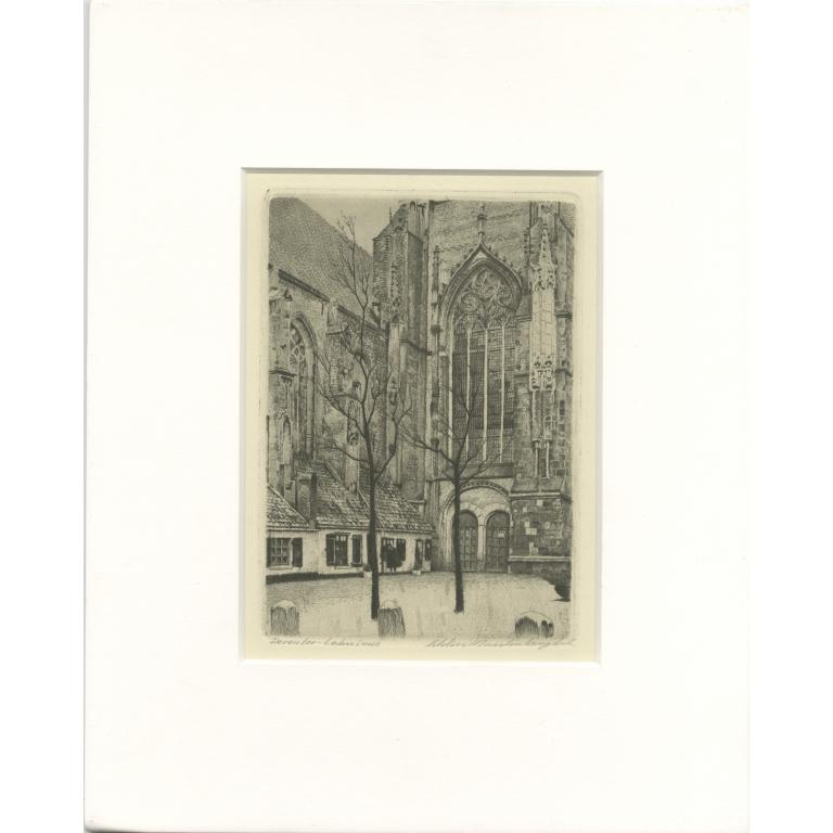 Vintage Etching of the Lebuinus Church by Langbroek (c.1950)